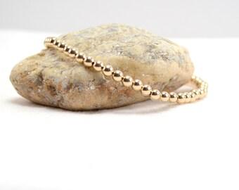 Gold Stacking Bracelet, Stretch Bracelet, Beaded Bracelet, Gold Beaded Bracelet, Gold Stretch Bracelet, Gold Filled Jewelry, Gold Bracelet