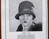 Henry Heath, hat, 1927, vintage, ad, original, Luna, English, fashion, women, advertisement, FREE WORLDWIDE SHIPPING, paper, ephemera