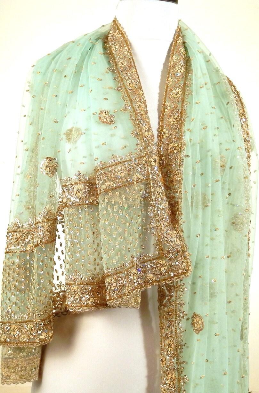 large beaded evening wrap sea green shawl aqua shawl