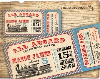 Train invitation - Train ticket birthday party invitation- Train party invite- DIY printable invitation