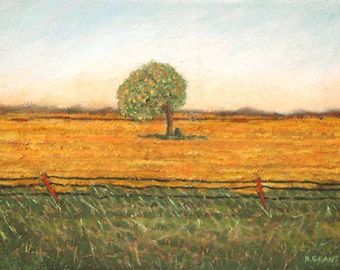 "Peaceful country scene:  7.5"" x 10"" signed & numbered print of my original oil painting ""QUIET INTERFERENCE Small Study""."