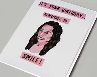 Funny Birthday Card - Funny Greeting Card - Sarcastic Birthday Card - Remember to smile