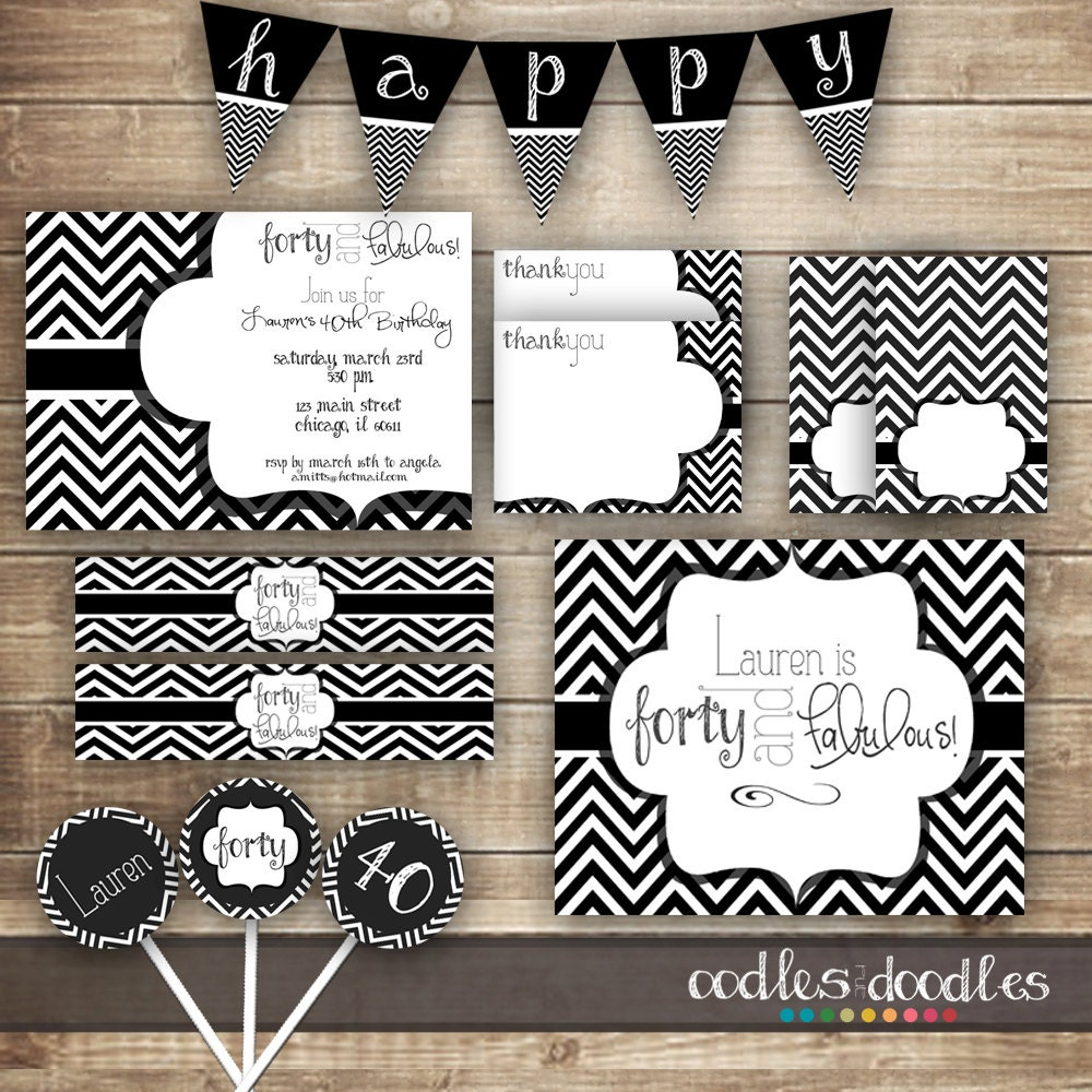 Forty and fabulous fifty and fabulous black and white for 50th birthday decoration packages