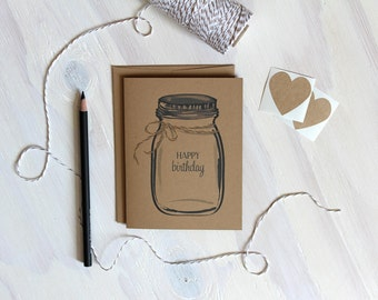 Set of 5 Happy Birthday Cards // Rustic Kraft Mason Jar HAPPY BIRTHDAY Cards // Ball Jar Cards // Stationary // Stationery // Birthday Cards