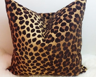 brown leopard print pillow cover