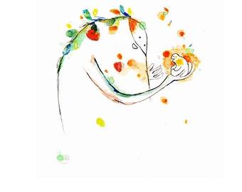 whimsical art ORIGINAL naive art, naive painting, whimsical illustration, inner child art, inner guide, magical art