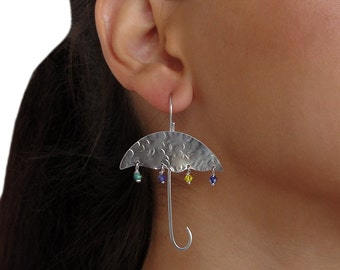 Cloud and umbrella silver earrings with crystals, different dismatched dangle earrings, sterling silver earrings, hypo allergenic earrings