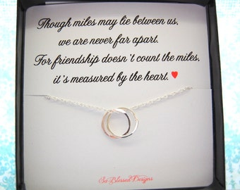 Best friends necklace Though miles may lie between us, friendship jewelry,  best friends, sterling silver, best friend gift, going away gift