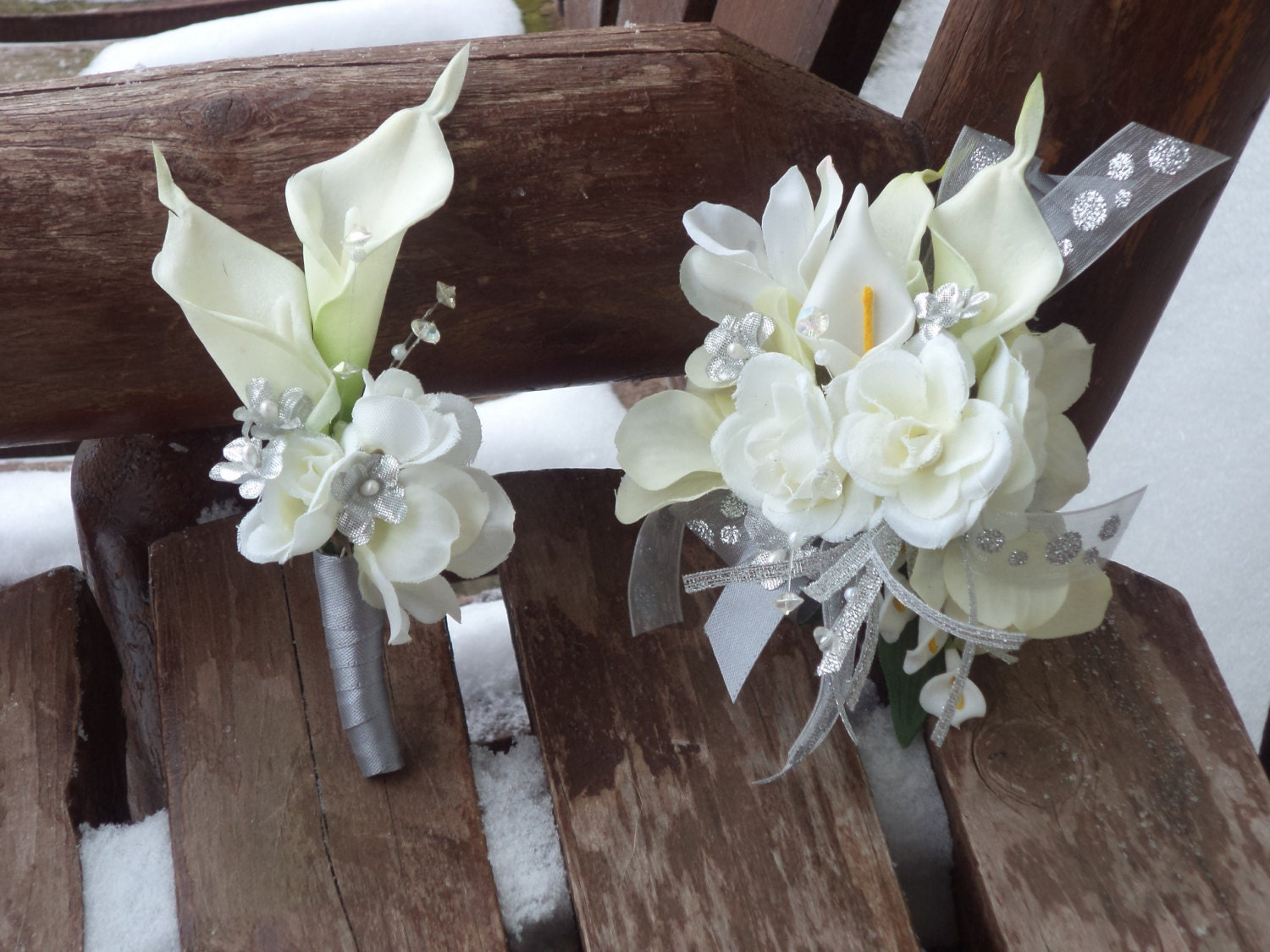 2 pc. White and Silver Real Touch Silk Wrist Corsage by ...
