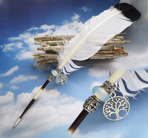 Blowout Sale... EAGLE'S Wing  Ink Dip Porcupine Quill w/ Feather Pen and OPALITE CRYSTAL Steampunk