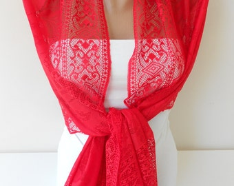 Tulle Scarf Shawl Red Scarf Summer Scarf Spring Scarf Red Wedding Scarf Women Holiday Fashion Accessories Christmas Gift Ideas For Her