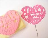 Wedding invitation, Balloon wedding stamp, Happy wedding, Pink love heart, Kawaii stationery, DIY wedding, Birthday invitations, Hobonichi