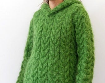 Hand Knit Mohair Sweater Cable Green Fuzzy Hooded Jumper Pullover Jersey - MADE to ORDER - by Extravagantza