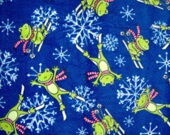 Frogs Skiing Fleece Throw Blanket