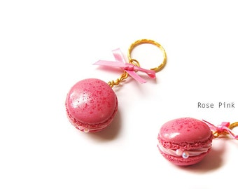 Macaron Keychain, Miniature Food Jewelry, French Macaron Jewelry, Polymer Clay Food Charm