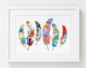 Watercolor Print - 5x7 Archival Print - Feather Art, Colorful 6 Feather Painting - Feather Art Print - Wall Decor Art Home Decor Housewares