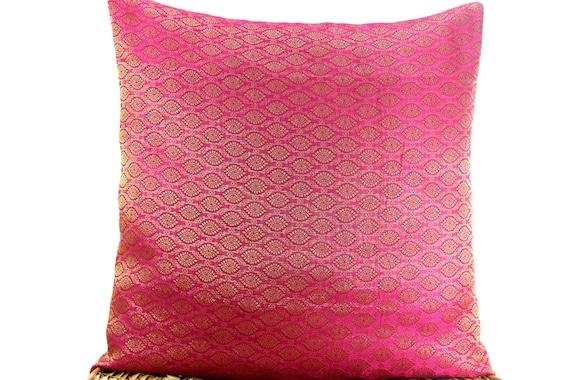 Pink Silk Throw Pillows : Pink Brocade Throw Silk Pillow coverDecorative by Fabricasia