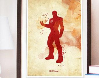 Vintage Ironman Poster - Digital print different sizes - SuperHero Artwork - Home Decor.Fan Art Illustration