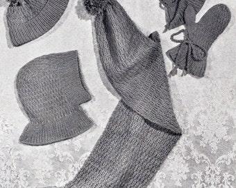1930's Knitting Pattern PDF Digital Copy - Children Hand Knitted Mittens, Cap, Scarf, Beret, Helmet, Bobble Hat. INSTANT DOWNLOAD.