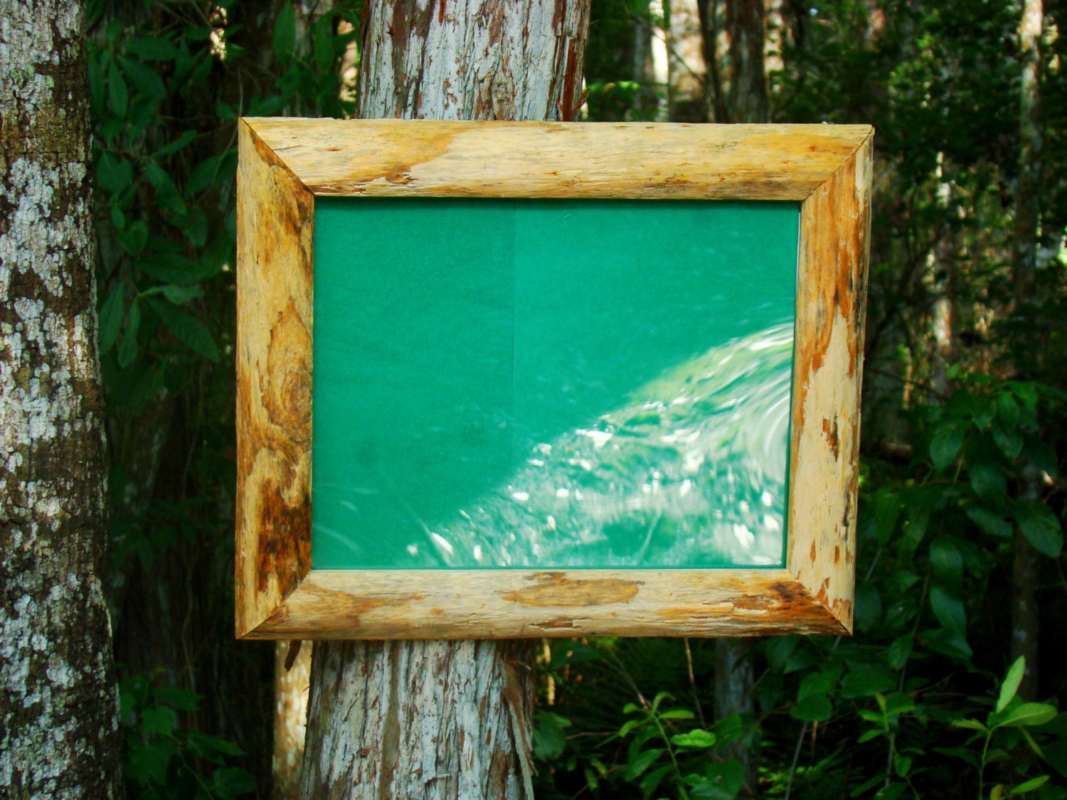 large wooden 20x30 picture frame made from reclaimed pine logs. Black Bedroom Furniture Sets. Home Design Ideas