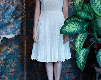 SALE! White on White Polka Dot Dress ~Size XS to Small