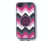 Chevron Iphone case - Hot Pink, Gray Iphone case, Monogram, iphone 5s case, iphone 5c case, iphone 4s case (1100)