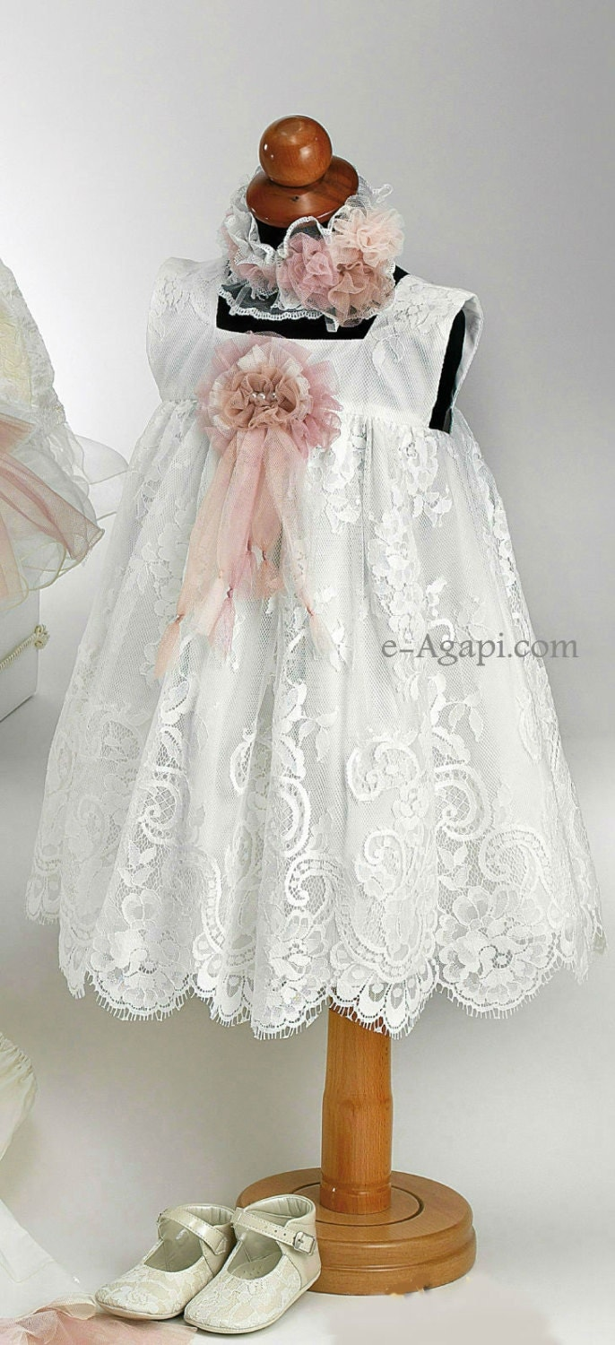 Baby Girl Baptism Dress Vintage Christening Dress Flower