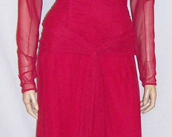Vicky Tiel Couture-Cerise, Strapless Ruched Gown with Bolero