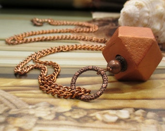 SALE - Copper Wood Cube Modern Necklace - GEOMETRIC FLAIR