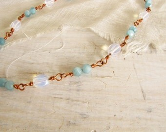 Blue Faceted Quartz and Oval Opalite Beads  Sterling Silver Wire Wrapped Copper Choker Necklace Handmade Jewelry blue # 131