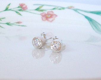 sterling silver tube set CZ stud and post earrings - 6mm