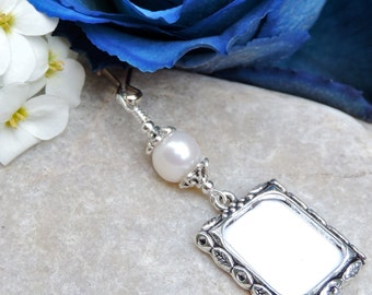 Wedding bouquet memory charm. Pearl wedding charm. Bridal bouquet charm with freshwater pearl. Picture frame charm. Photo charm.