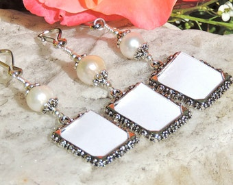 Wedding bouquet photo charms set of 3. Pearl wedding charms 3x. Bridal bouquet charms. Memory photo charms. Bridal shower gift
