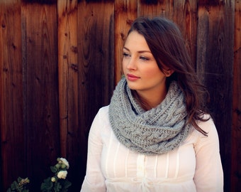 Winter Infinity Scarf. Handmade Knit Scarf. Knit Accessories. Winter Grey Knit Scarf. Winter Knit Scarf. Christmas Gift for Her. Knit Scarf