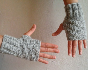 Fingerless Gloves, Gray Gloves, Knit Arm Warmers, Wrist Warmers