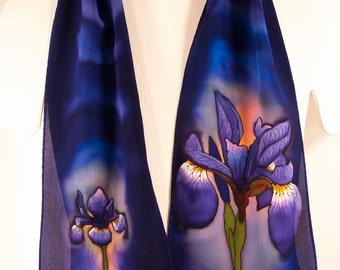"""Silk scarf handpainted. Iris Silk Scarf. Iris silk wallhanging 8""""x52"""" Hand-painted silk scarves. Silk scarf handpainted. hand painted silk"""