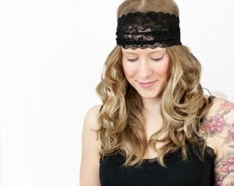 Black Lace Headband, Wide Headband, Adult  Headband, Womens Gift for Her, Black Headband Workout Headwrap, Boho Head Bands Girlfriend Gift