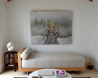Soul - Original Fine Art Painting on canvas - Woman dancing/dancer/original/nude art/woman nacked/movement/dance/wave/wind/ Cristina Ripper