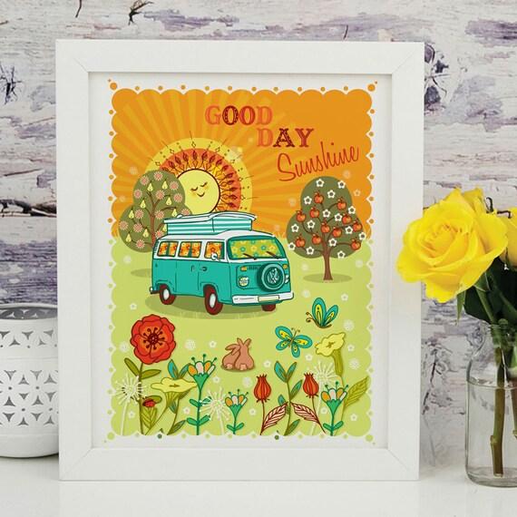 Good Day Sunshine VW Campervan -  Illustration Print - Gift for VW Camper Van Lovers - Kombi Print - RV Print - Wall Art