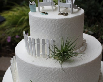 One PICKET FENCE Piece For Beach Theme Wedding Cake Topper  - by Landscapes In Miniature