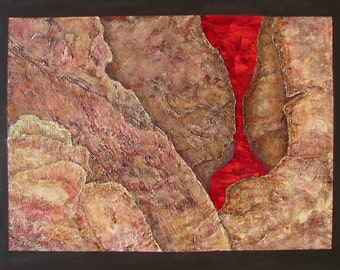 Trimelbach 1- Highly textured abstract acrylic with collage by South African Artist Nora Lemmon