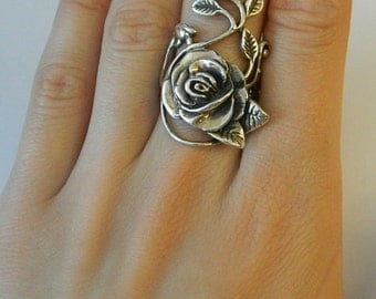Sterling Silver Rose  leaf Vine design   Stunning and elegant- HEAVY
