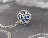 Crystal and Sterling Silver Ball Pendant - Blue Bead