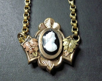 Antique Victorian Hardstone Cameo Necklace - Choker - Antique Jewelry - Gold Filled - 1870s - 19th Century - Tri Color Leaves - Goth