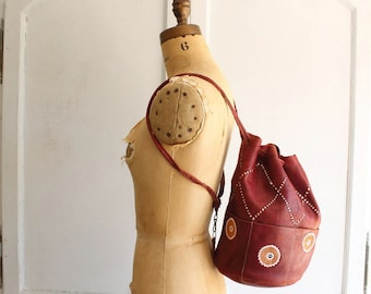 vintage moroccan leather bucket backpack festival tote