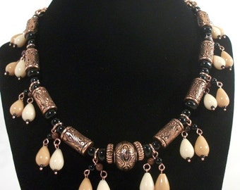 Vtg Copper Antique Etched Beads Teardrops Black Stone Beaded Necklace Moroccan Style Jewelry for Women