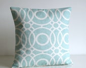 Sofa Pillow Cover, Pillow Covers, Cushion Cover, Circle Pillow Sham, 18 Inch Pillow Cover, 18x18 Cushion Cover - Trellis Circles Aqua