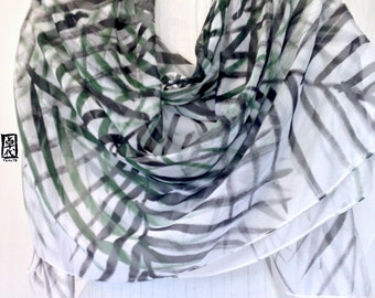 Hand Painted Silk Shawl, Large Silk Scarf, Black Zen Coconut Leaves Silk Wraps Shawl, Silk Chiffon Scarf. 20x84 inches.