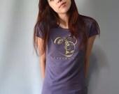 "Women's T shirt Purple Cubism Art Bamboo Tshirt Clothing, Scoop Neck Tee, ""Imagine More"" by Uni-T"