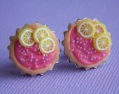 Raspberry + Lemon tart earrings w/ pink sprinkles